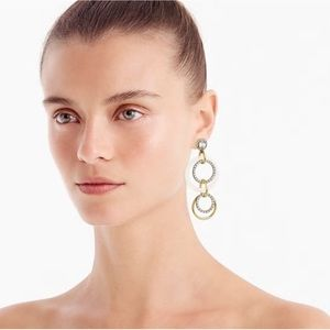 NWOT J. Crew Crystal and gold circle drop earrings